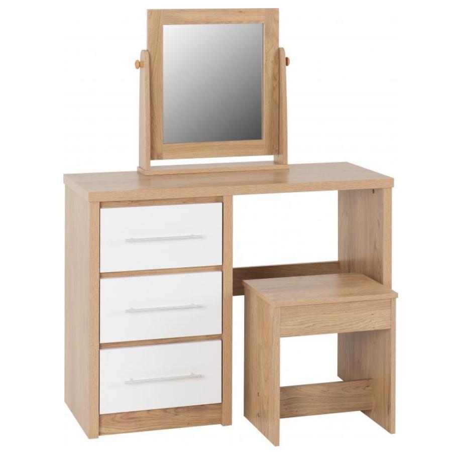 BBS1510  Seville 3 Drawer Dressing Table Set in White High Gloss