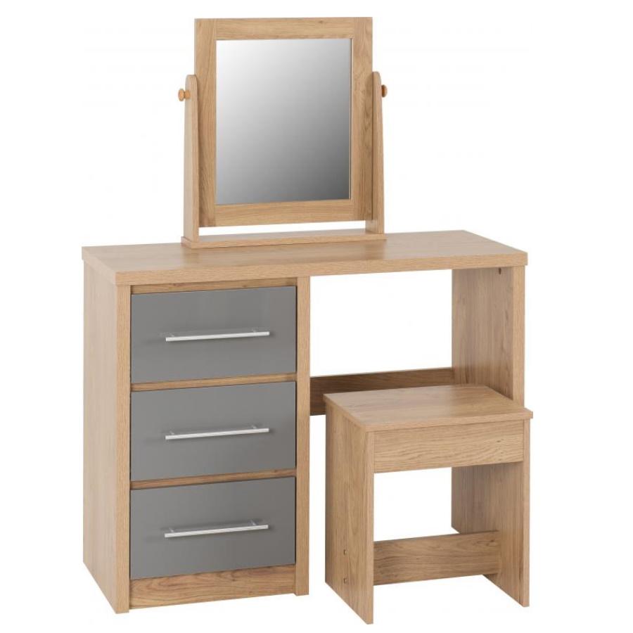 BBS1511  Seville 3 Drawer Dressing Table Set in Grey High Gloss