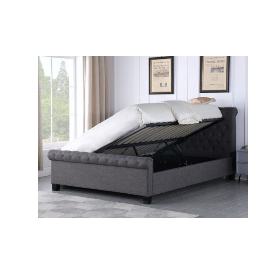BxBS1515  Paris 5' Ottoman Buttoned Bed in Dark Grey Fabric